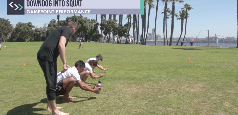 Downdog into Squat (field)